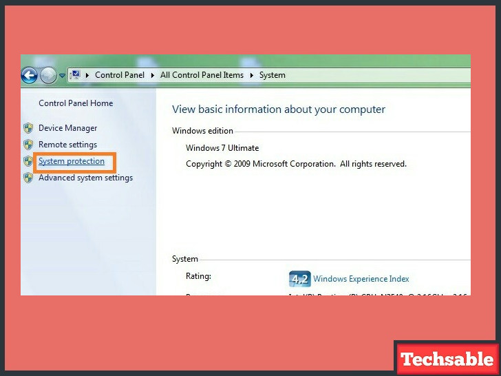 windows system protection tab