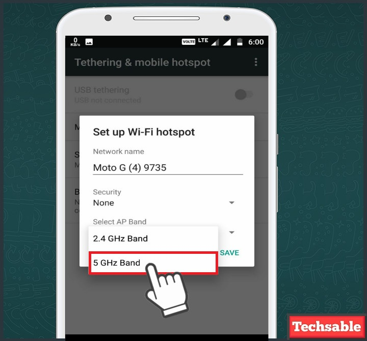 select 5 ghz on Android wifi